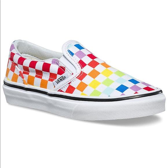 Vans Classic Slip On Rainbow Checkered